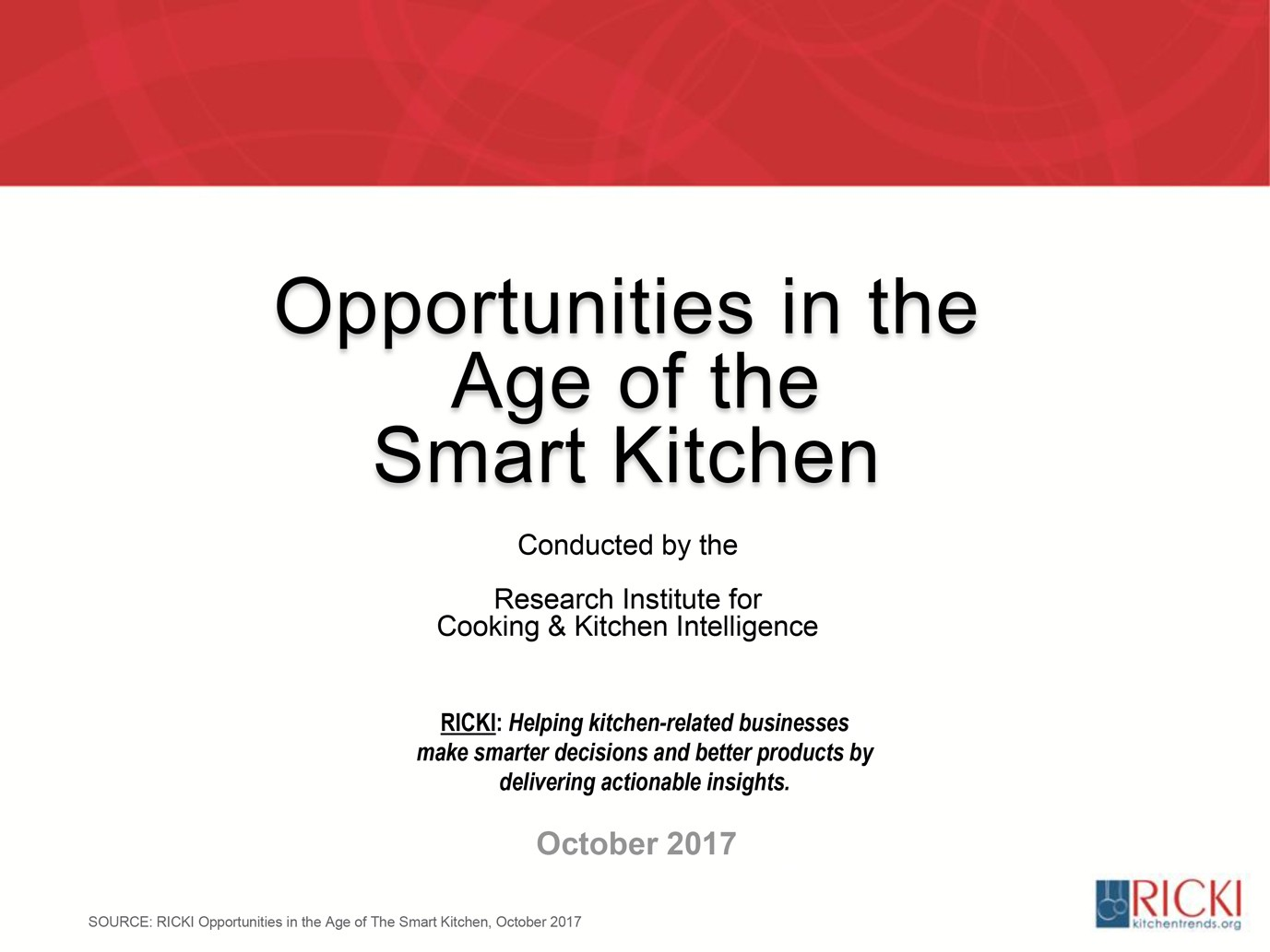 Opportunities in the Age of the Smart Kitchen